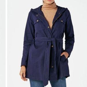 JustFab A-Line Parka Jacket With Hood Dark Indigo